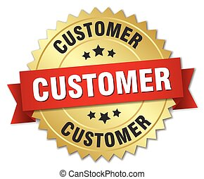 customer 3d gold badge with red ribbon
