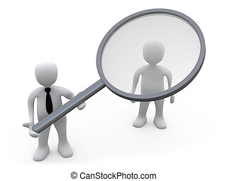 Customer Analysis - Business Person Holding A Magnifying...