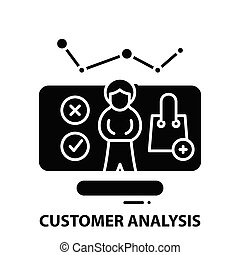 customer analysis icon, black vector sign with editable strokes, concept illustration