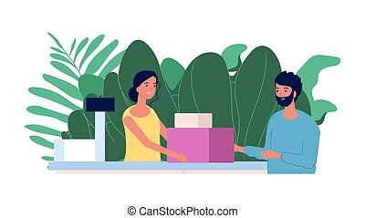 Customer and cashier. Shopping concept. Flat man makes purchases at checkout. Smiling cashier girl, store vector illustration