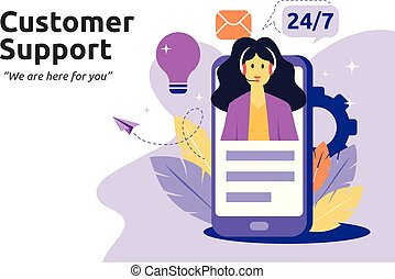 Customer and operator, online technical support concept. Female hotline operator advises client. Vector illustration