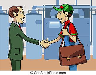 Customer and technician - Cartoon-style illustration: a...