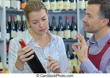 Customer asking about bottle of wine