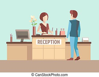 Customer at reception. Vector concept in flat style....