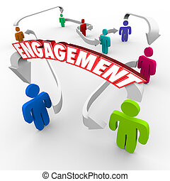 Engagement word on an arrow between people, customers or audience members to illustrate communicating a message to your market and getting people engaged and participating