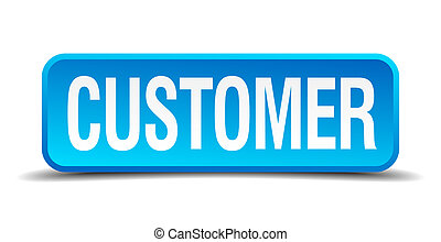 customer blue 3d realistic square isolated button
