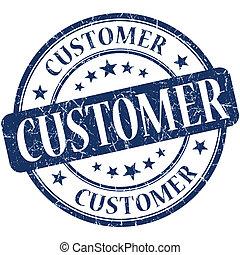 Customer blue round grungy vintage rubber stamp