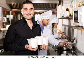Customer buys fastfood - Portrait of positive customer, chef...