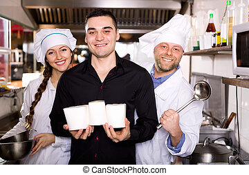 Customer buys fastfood - Portrait of smiling customer, chef ...