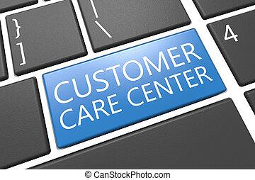 Customer Care Center - keyboard 3d render illustration with...