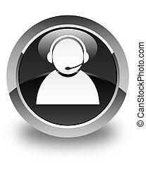 Customer care icon glossy black round button