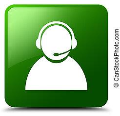 Customer care icon green square button