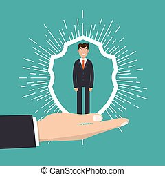 Customer Care, retention or loyalty concept. Businessman in a hand holds  client.