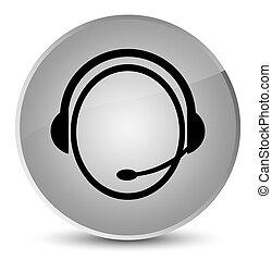 Customer care service icon elegant white round button