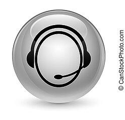 Customer care service icon glassy white round button