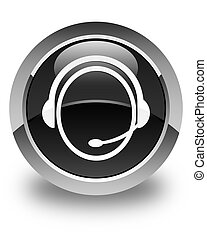 Customer care service icon glossy black round button