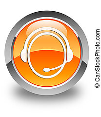 Customer care service icon glossy orange round button