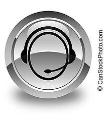 Customer care service icon glossy white round button