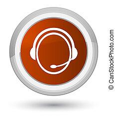 Customer care service icon prime brown round button