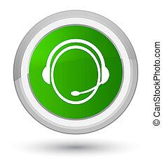 Customer care service icon prime green round button