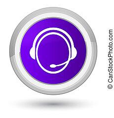 Customer care service icon prime purple round button