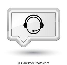 Customer care service icon prime white banner button
