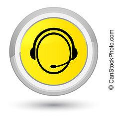 Customer care service icon prime yellow round button