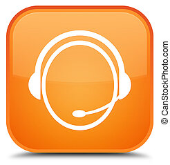 Customer care service icon special orange square button