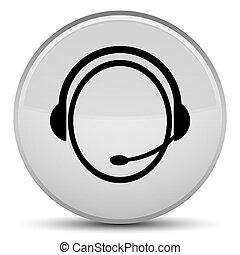 Customer care service icon special white round button