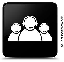 Customer care team icon black square button