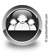 Customer care team icon glossy black round button