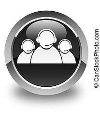 Customer care team icon glossy black round button