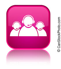 Customer care team icon special pink square button
