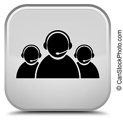Customer care team icon special white square button