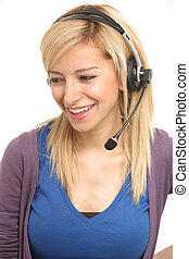 Customer care - Young blonde smile girl on a customer care