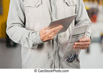 Customer Checking Product Through Digital Tablet