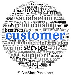 Customer concept on white - Customer concept in word tag...
