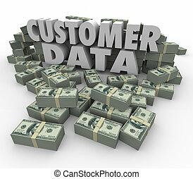 Customer Data 3d Words Money Cash Stacks Piles Valuable...