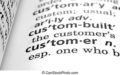 The word Customer in a dictionary, close-up