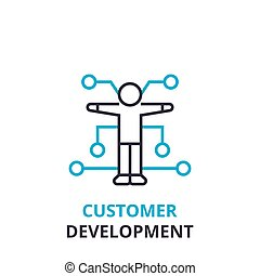 Customer development concept , outline icon, linear sign, thin line pictogram, logo, flat vector, illustration