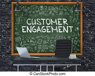 Customer Engagement on Chalkboard with Doodle Icons.
