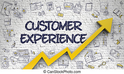 Customer Experience Drawn on White Brickwall. 3D. - Customer...