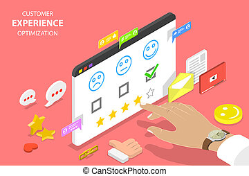 Customer experience optimization isometric flat vector concept.