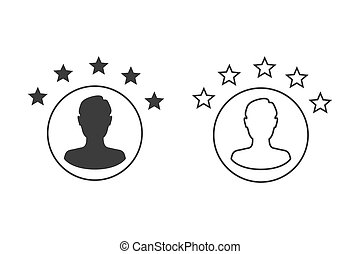 Customer experience or 5 star satisfaction rating line art vector icon set for review apps and websites