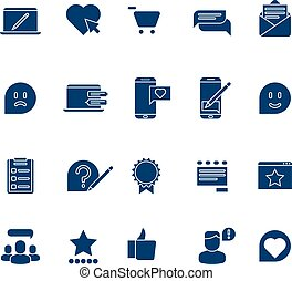 Customer experience, user rating, testimonials vector icons set