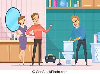 Customer Family And Plumber Repairing Toilet