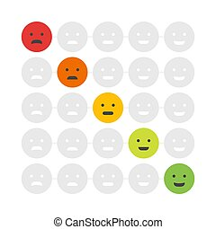 Customer Feedback emoticon. Rank or level of satisfaction rating. Review in form of emotions, smileys, emoji. User experience. Vector illustration
