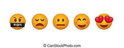 Customer feedback emoticons. Testimonial from each client reaction service from admiration.