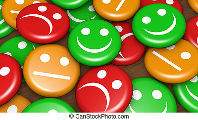 Business quality service customer feedback, rating and survey with emoticon symbol and icon on badges.