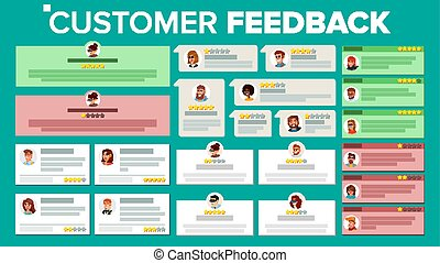 Customer Feedback Vector. Business Positive, Negative Review. Store Quality Work. Testimonials Notification Messages. User Photo. Review Rating Speech Bubble. Flat Cartoon Illustration